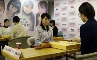 ワールド碁女流最強戦が開幕した(22日午前、東京都千代田区)