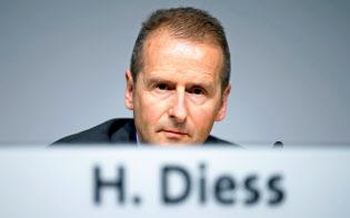 2018年5月、VW株主総会に出席したディース社長=ロイター
