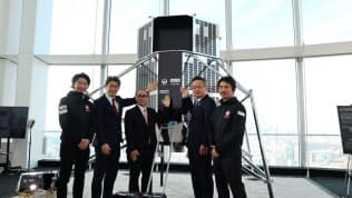 ispaceが都内で開いたパートナー企業の発表会見(左端が袴田武史CEO)