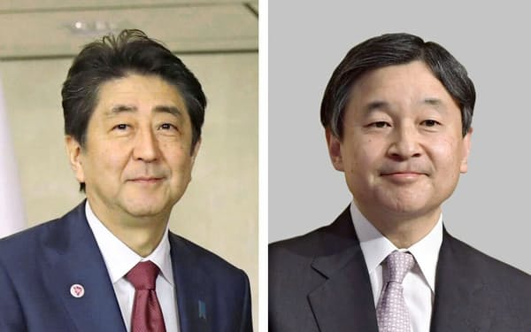 安倍晋三首相(左)と皇太子さま