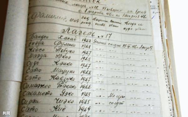 ロシア国立軍事公文書館に残されていた女性のシベリア抑留者の名簿=生田美智子・大阪大名誉教授提供、共同