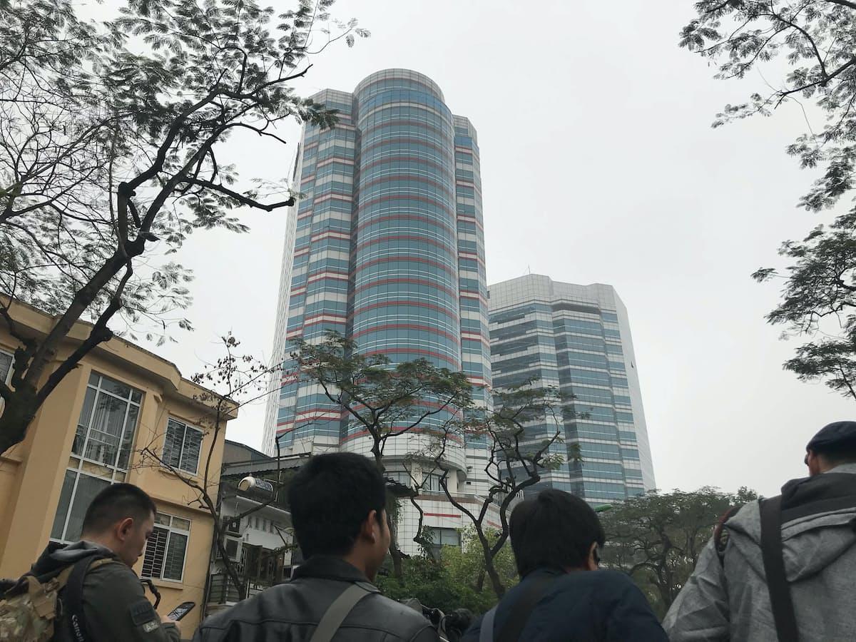 金正恩委員長が宿泊するとみられるホテル(26日、ハノイ)