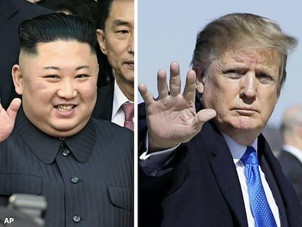 北朝鮮の金正恩(キム・ジョンウン)委員長(左)とトランプ米大統領=AP・共同
