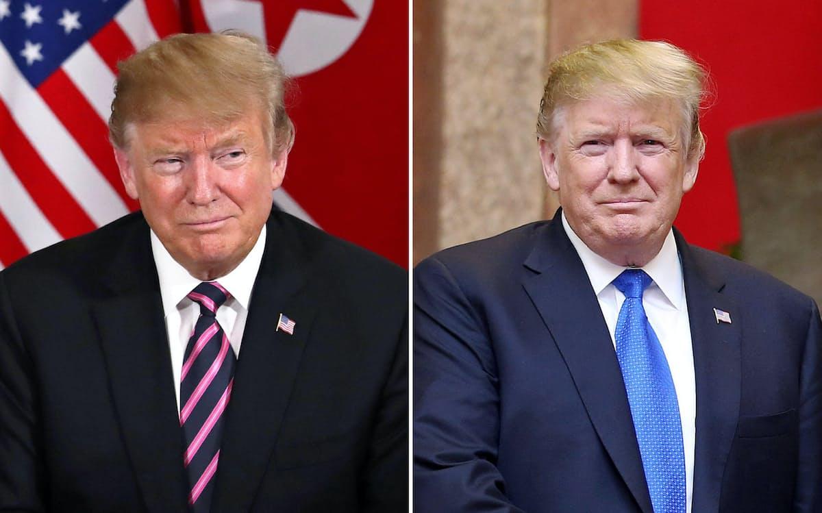 トランプ大統領は、昼と夜でネクタイを替えた=ロイター