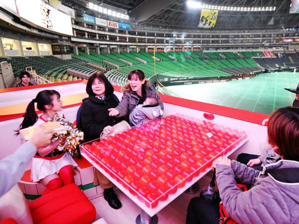 リニューアルしたヤフオクドームに設置されためんたいこをイメージした席を見学するファン(28日午前、福岡市中央区)