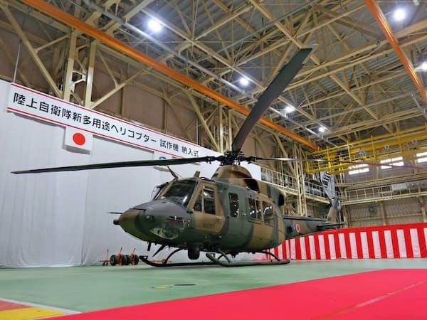 スバルは新多用途ヘリコプターの試作機を防衛省に納入した(28日、宇都宮市)