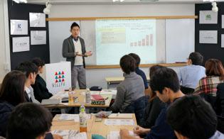 ウィルフの黒石健太郎社長は学生起業家に就職の意義を説く(2月、都内)