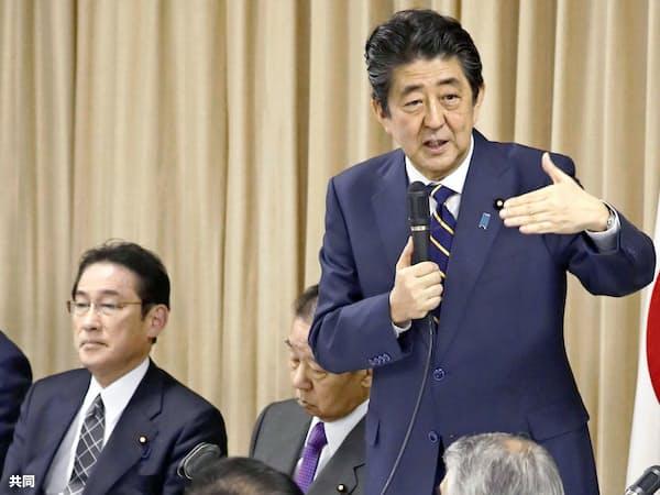 党内では安倍首相の総裁4選を支持する声さえ出ている(左は岸田政調会長)=共同