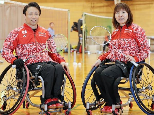 パラバドミントンの小林幸平さん(左)と悦子さん夫妻