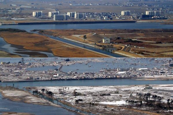 災害公営住宅が立ち並ぶ宮城県名取市の閖上地区。手前は仙台市若林区の海岸公園(写真上、2日)。写真下は津波被害から間もない様子(2011年3月18日)