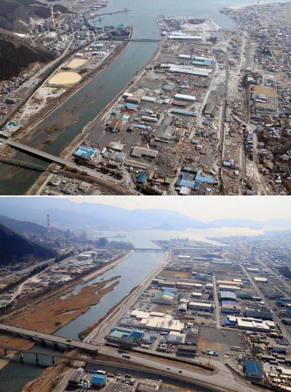 2011年3月14日撮影の岩手県大船渡市内(写真上)と現在の様子(同下、2日)