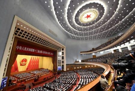 中国全人代は毎年3月に開かれ、31ある省や自治区・直轄市、人民解放軍などの代表約3000人が集まる=共同