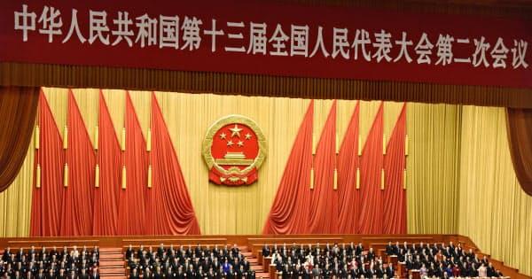 5日、北京の人民大会堂で開幕した中国全人代=共同