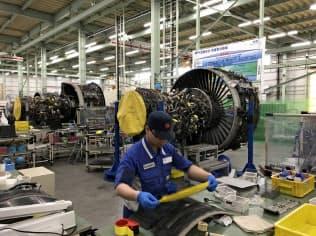 エンジンの整備を手掛けるIHIの瑞穂工場