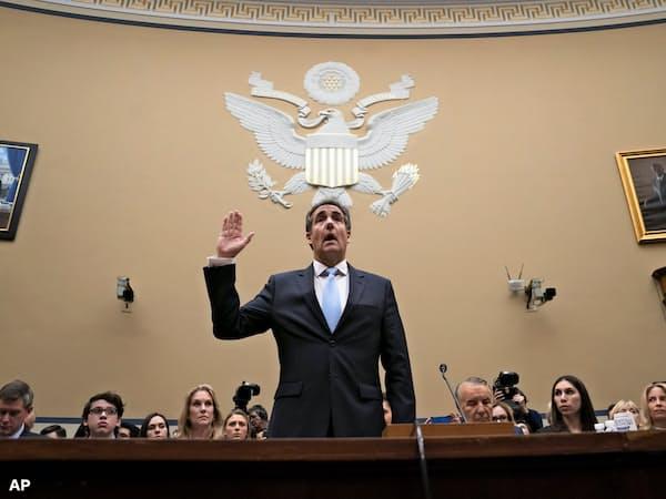 トランプ大統領の元側近コーエン被告の議会証言で、共和党議員らは疑惑自体についてはほとんどコメントしなかった=AP