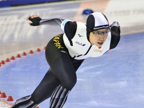 女子500メートル 36秒47で自身の日本記録を0秒03更新して優勝した小平奈緒(ソルトレークシティー)=共同