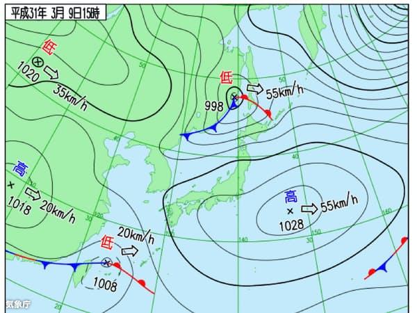 関東で春一番が吹いた3月9日午後3時の天気図。日本海の低気圧はあまり発達していない(気象庁作成)
