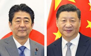 安倍晋三首相と中国の習近平国家主席(右)=共同