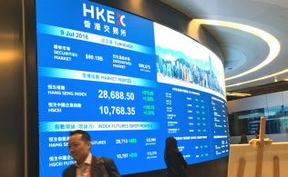 2018年はアジア各地の株式市場でアクティビ?#25915;趣?#27963;動が目立った。(香港取引所 撮影:小平龍四郎)