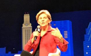 2020年の大統領選に出馬表明している民主党のエリザベス・ウォーレン上院議員は、アマゾンなどの巨大IT企業の分割を公約に掲げる。(9日、テキサス州オースティン)