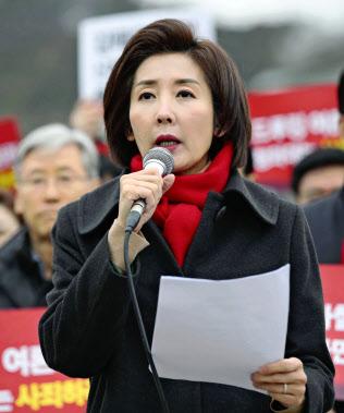 自由韓国党の羅卿●(たまへんに爰)氏の発言は、韓国では自国に対する侮辱と受け止められた(1月に大統領府前で開かれた集会)=聯合・共同