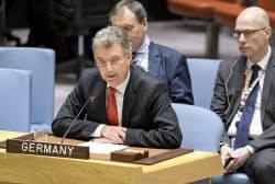 国連安保理の北朝鮮制裁委員会議長を務めるドイツのホイスゲン国連大使(ニューヨーク)=国連提供