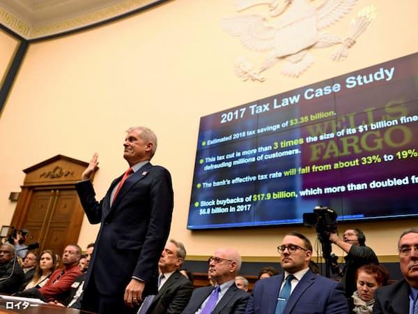米ウェルズのスローンCEOは議員の厳しい追及にさらされた(12日、米下院公聴会)=ロイター