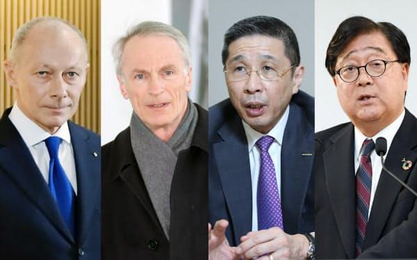 (写真右から)三菱自動車の益子会長兼CEO、日産自動車の西川社長、ルノーのスナール会長、ルノーのボロレCEO