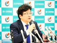 トヨタ自動車労働組合の西野勝義執行委員長(13日、愛知県豊田市)