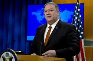 人権報告書の発表で記者会見するポンペオ米国務長官=AP