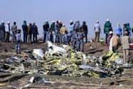 墜落したエチオピア航空302便(11日、エチオピア)=ロイター