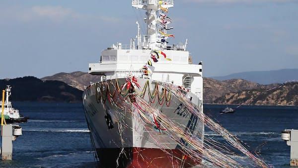 大型巡視船「みやこ」が進水、三井E&S造船