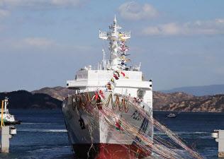 三井E&S造船玉野艦船工場で進水した大型巡視船「みやこ」