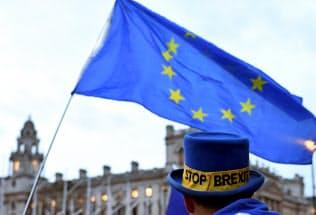 EU離脱に反対する人々の英国会議事堂前でのデモ(13日、ロンドン)=ロイター