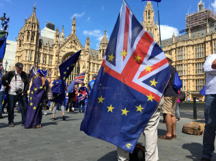 国家の浮沈がかかっているというのにデモ隊が集まるのは首都ロンドンの英議会の周りだけだ(写真は国会前のEU残留派の集会、2018年)