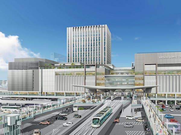 JR広島駅の新たな駅ビルはホテルなどを併設する(完成イメージ)