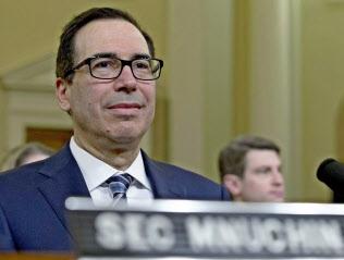 ムニューシン米財務長官は対ロシア政策で、欧州と協調?#24037;?#32771;えを改めて訴えた(14日、ワシントン)=AP