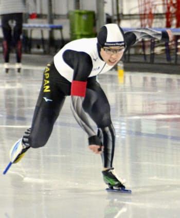女子500メートルで1位の小平奈緒(15日、カルガリー)=共同