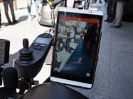 移動機器にはタブレットが取り付けられており、場所に応じてARを用いておすすめのレストランなどを表示してくれる