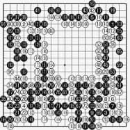 張名人(黒)対 申九段(白) 最終譜面・202手まで ●151(79)●189(94)