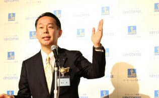 コーヒーの「2050年問題」について説明する柴田社長(19日、東京都千代田区)