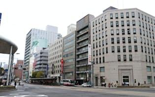 八丁堀地区にはオフィスビルが数多く立ち並ぶ(広島市)