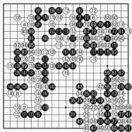 朴九段(白)対 申九段(黒) 最終譜面・182手まで ○52(38)●53(40)○64(47)