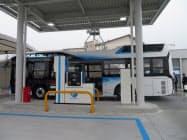 東邦ガスは中部空港島に水素ステーションを開設した(19日、愛知県常滑市)