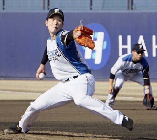 イースタン・リーグのヤクルト戦で登板し、2回2安打1失点だった日本ハム・吉田輝(19日、鎌ケ谷)=共同