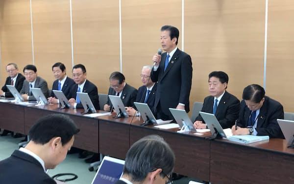 公明党の中央幹事会(20日、東京・新宿)