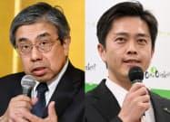 記者会見で大阪府知事選への立候補を表明する小西氏(写真左)と吉村氏