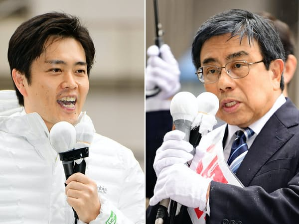大阪府知事選が告示され、支持を訴える小西禎一氏(写真右)と吉村洋文氏(21日午前、大阪市中央区)