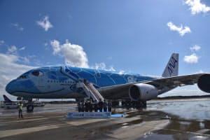 全日空は5月からA380をホノルル路線に就航する(21日、成田空港)