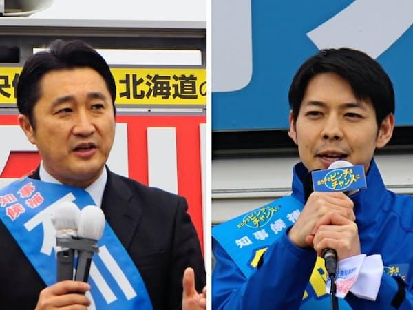北海道地震の被災地で第一声を上げた鈴木直道氏(右)と石川知裕氏